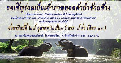 ขอเชิญร่วมเป็นเจ้าภาพทอดผ้าป่าช่วยช้าง